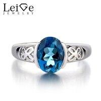 Leige Jewelry Solid 925 Sterling Silver Ring London Blue Topaz Fine Gemstone Birthstone Oval Cut Promise