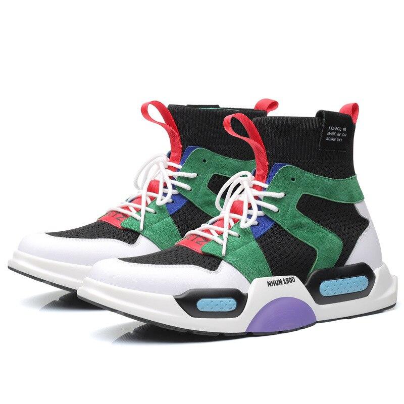 Véritable cuir haut hommes chunky baskets appartements plate-forme baskets mode Hip Hop rue danse tenis chaussures chaussette hommes chaussures