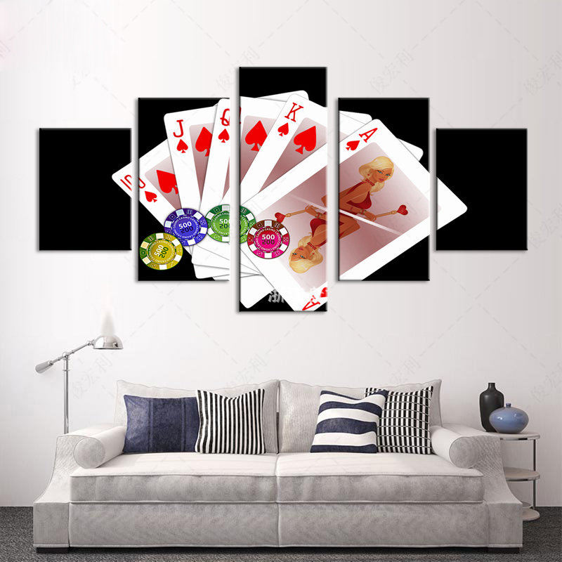 pictures on the wall for the kitchen Modular pictures HD Print Free Shipping 5 piece canvas art Playing cards home decoration p