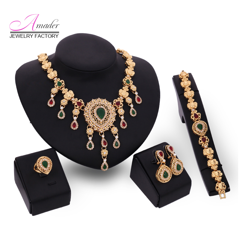 From India gold plate wedding jewelry set 2016 New design african Wedding bridal statement necklace set