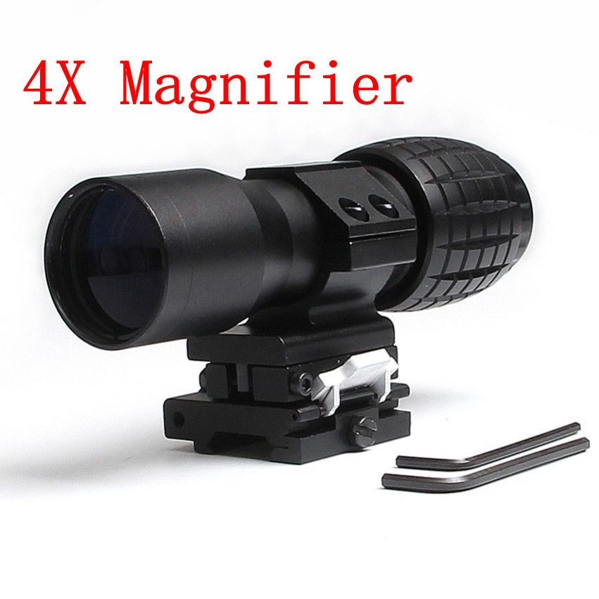 3PCS Hunting Optics 4X Magnifier Scope Magnifying Sight FTS Flip to Side for Airsoft Riflescope Hunting Shooting Target Practice