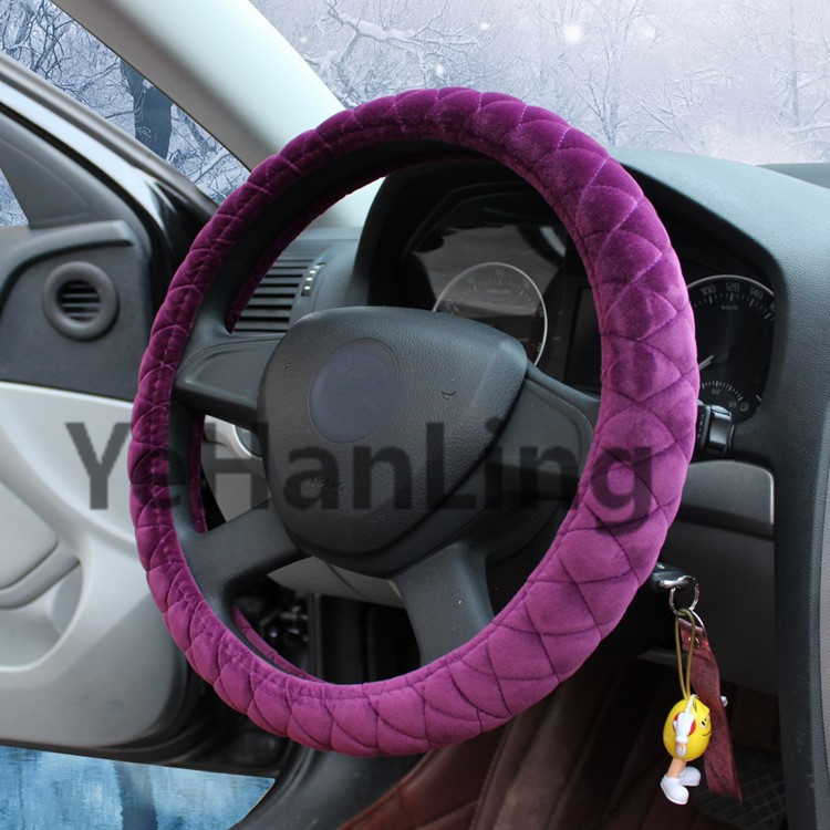 colorful warming plush Crystal velvet steering wheel cover for Mitsubishi, Toyota in winter