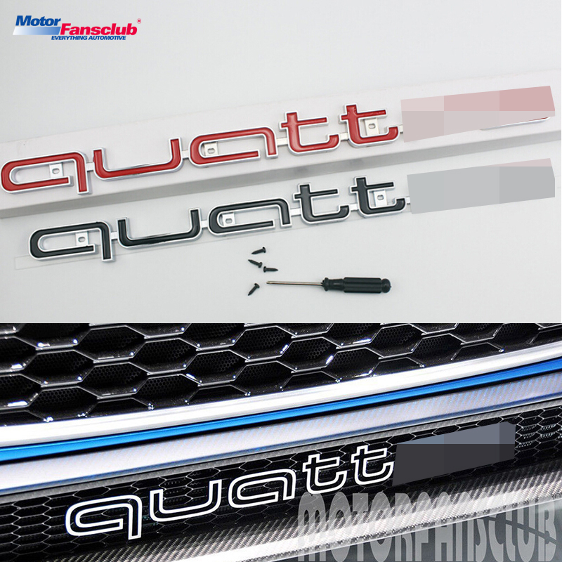 цены For Quattro Emblem Car Sticker Logo Badge Front Grille Racing Grill Mesh For Audi A3 A4 B8 B6 A5 A6 RS3 RS5 S6 Q5 Q7 A7 Style
