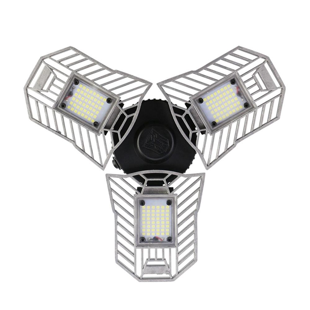 60 W E27 Déformable led lumière Ventilateur en forme de pliable Haute Luminosité lampe intérieure 2836 led puces Plafonnier pour Garage/Sous-Sol