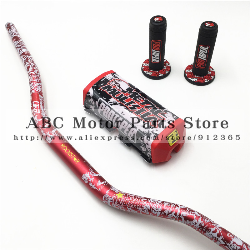 "PRO Taper Handle Grips Metal Mulisha Pack Fat Bar 1-1 / 8 ""PROTAPER Handlebar pads Dirt Pit Bike Motocross Motorcycle CRF KLX KTM"
