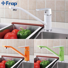 Фотография FRAP 1 Set News Fashion Style Multi-color Kitchen Faucet Cold and hot water taps White Orange Green 360 Rotation Torneiras F4933