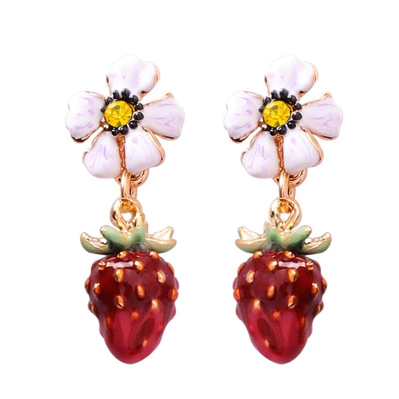 2018 Süße Nette Glasur Erdbeere Blume Obst Blatt Ohrringe Lange Kette Quaste Tropfen Ohrring Für Frauen Mädchen Partei Schmuck Geschenk