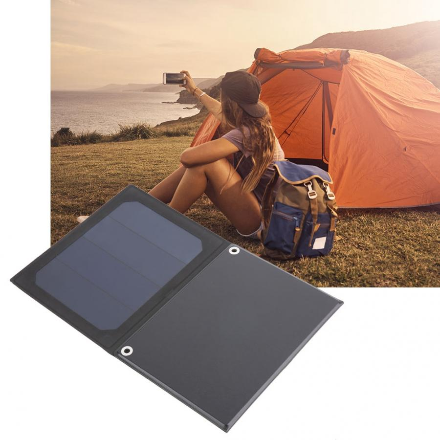 Outdoor Solar Panel USB Output 12W/5V Waterproof Foldable LED Monocrystalline Silicon for Smartphones