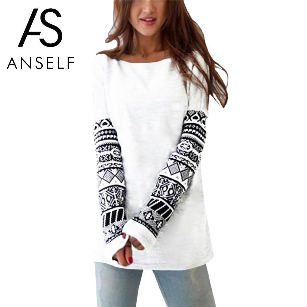 Anself Boho T Shirt Women O-Neck Geometric Print Long Sleeve Harajuku T-shirt Casual Tee Shirt Femme 5XL Plus Size Pullover Tops