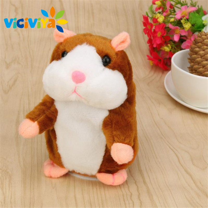 VICIVIYA Talking Hamster Speak Talk Sound Record Repeat Hamster Mouse Pet Stuffed Plush Animal Education Toy For Children Kids ^ ysdx 811 video version mimicry pet talking hamster plush toy for kids grey light yellow pink