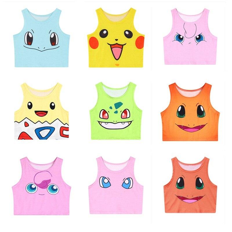 Harajuku Sexy Girls Cosplay Costume Pokemon Go Pikachu / Charmander / Squirtle / Bulbasaur Crop Tops Vest Tank Tops Shirt Юбка