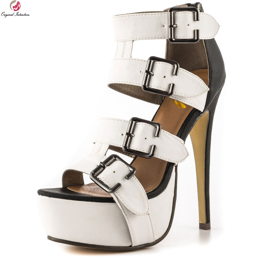 Original Intention Novelty Women Sandals Fashion Open Toe Thin High Heels Sandals Black and White Shoes Woman Plus US Size 4 20