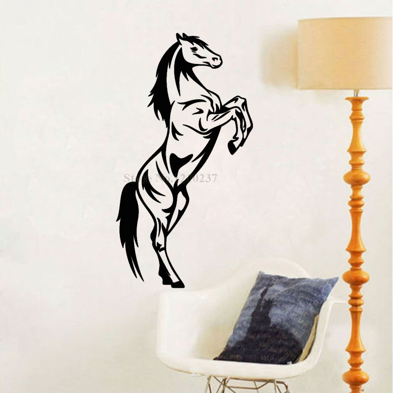 DCTOP Jumping Horse Wall Stickers For Kids Room Animal Wall Decals Vinyl  Self Adhesive Wallpaper Living Room Home Decoration In Wall Stickers From  Home ...