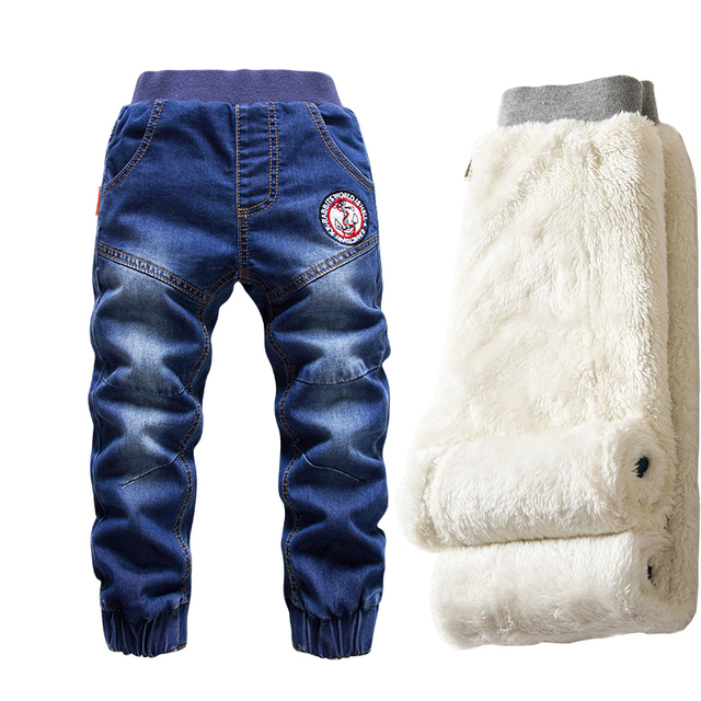 Hot Sale Boys Jeans Casual Child Plus Velvet Pants Winter Kids Jeans Boys 2 14Y Girls Thicking Warm Denim Trousers Teen Clothes