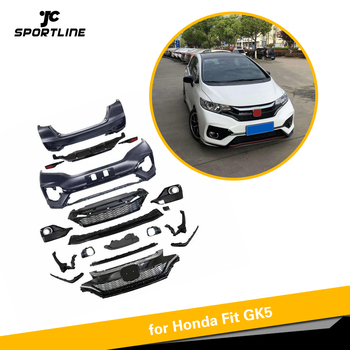 Car Body Kits PP Upainted Front Rear Bumper Side Skirts for Honda Fit GK5 2014 - 2018