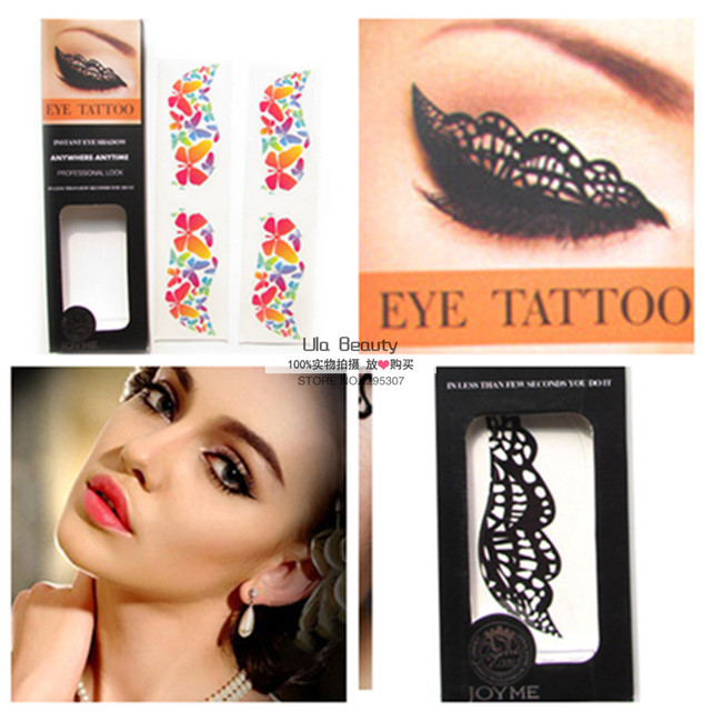 4pcs/lot Eye Shadow Stickers Eye Tattoo 27 Styles Pattern Temporary Body Tattoo Eye Makeup Tool Magic Waterproof Tattoos Sticker