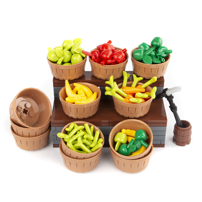 City Accessories Building Blocks Vegetable Food Fruit Carrot Apple Banana Model Blocks MOC Friends Figures Partys Bricks Toys
