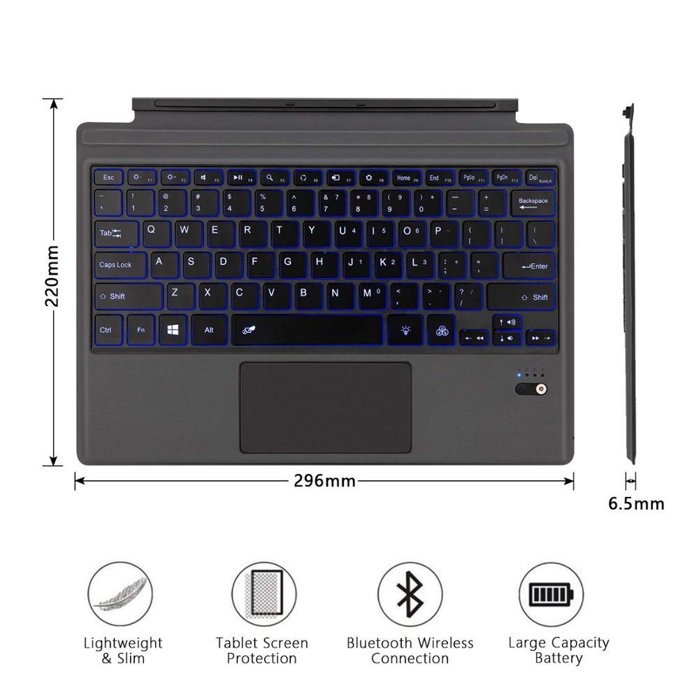 Teclado retroiluminado Bluetooth inalámbrico para Microsoft Surface Pro 6 2018 Pro 5 2017 Pro 4 Pro 3 teclado Bluetooth teclado de tableta - 6