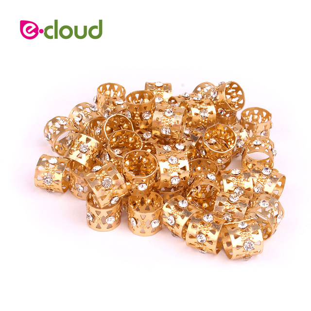 50pcs Lot Gold Rhinestone Hair Dread Braids Dreadlock Beads Adjule Braid Cuffs Clip Heart Shape