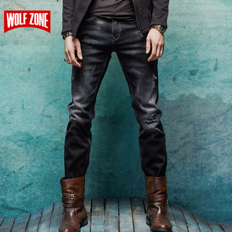 New Arrival Jeans Men Brand Clothing Famous Masculino Distressed Pants Mens Solid Mid Black Full Length Cotton Designer Casual
