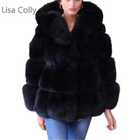 Lisa Colly Women Winter Jacket Coat Long sleeve collar Luxury Faux Fox Fur Coat Jacket Faux Fur Warm Coat Outwear With hooded
