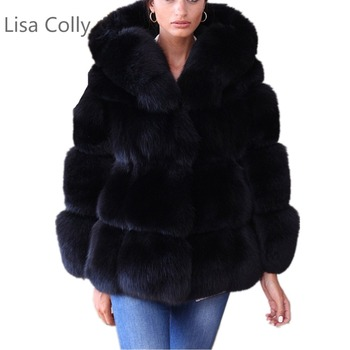 S-6XL Size Women Winter Overcoat Long sleeve collar Luxury Faux Fox Fur Coat Jacket Faux Fur Black Coat Outwear With hooded casual thick faux fur hooded long sleeve bodycon coat for women page 4