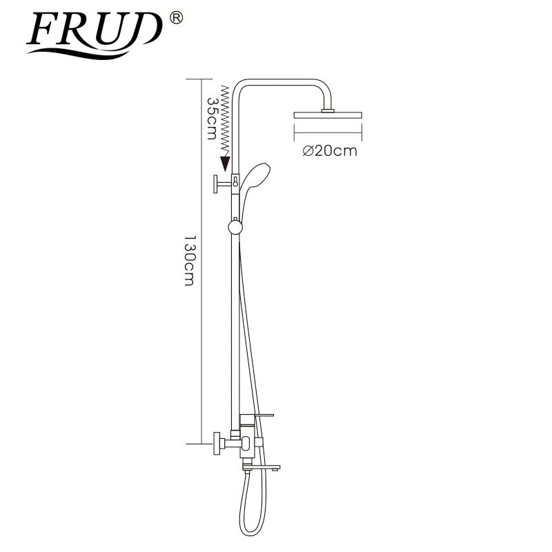 Image 2 - Frud 1Set Bathroom Rainfall Shower Faucet Mixer Tap With Hand Sprayer Wall Mounted Bath Shower system Sets Single Handle R24131-in Shower System from Home Improvement