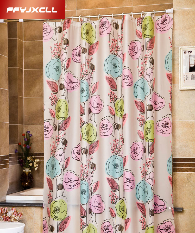 180*180cm 180*200cm New Arrival Waterproof Fabric Floral Shower Curtain  Bathroom Nature Bath Curtain