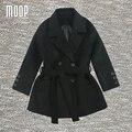 Designer sashes decor winter wool blended coat  slim black short woolen coats manteau femme abrigos mujer invierno LT1155