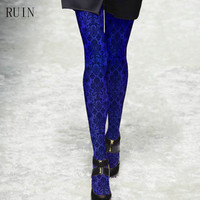 Women S Tights Blue And Blue Pattern Printed Pantyhose Female Girl Tights 140D