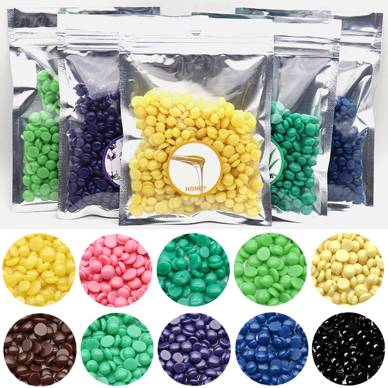 50g/Bag Depilatory Wax Honey Flavor Pearl Hair Removal Hot Wax Beans Pellet Waxing Bikini Hair Removal Cream (Colors In Random)