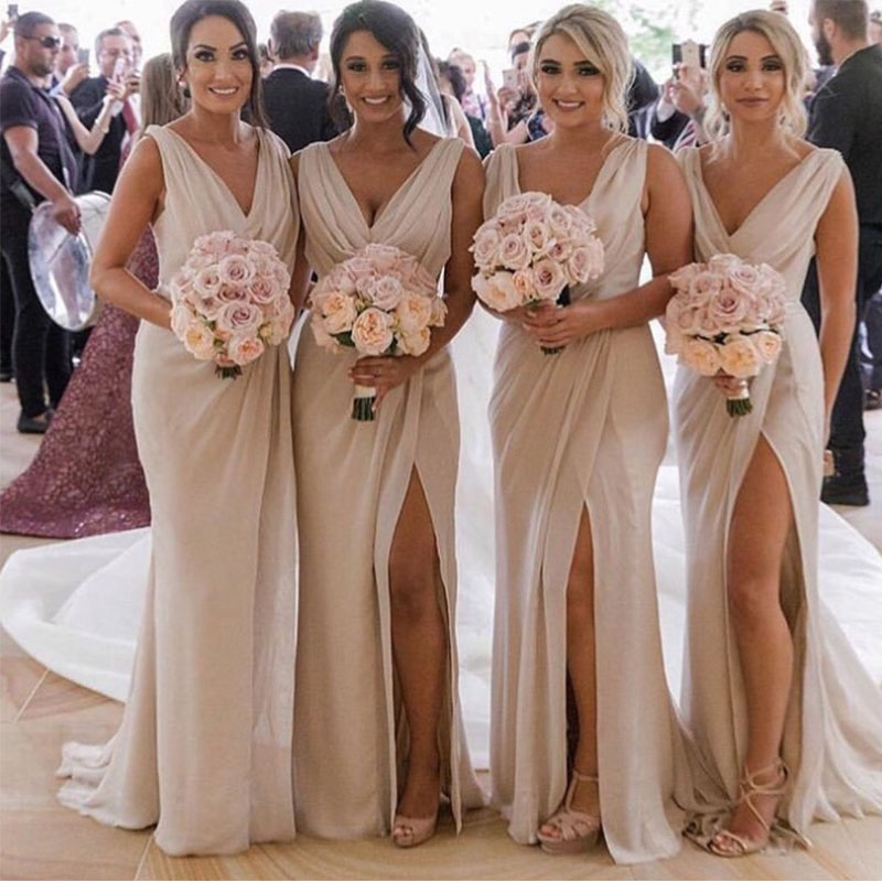 Long Champagne Pleats Chiffon   Bridesmaid     Dresses   V-neck Front Split Formal Party   Dresses   Maid Of Honor Gowns Hot Sale