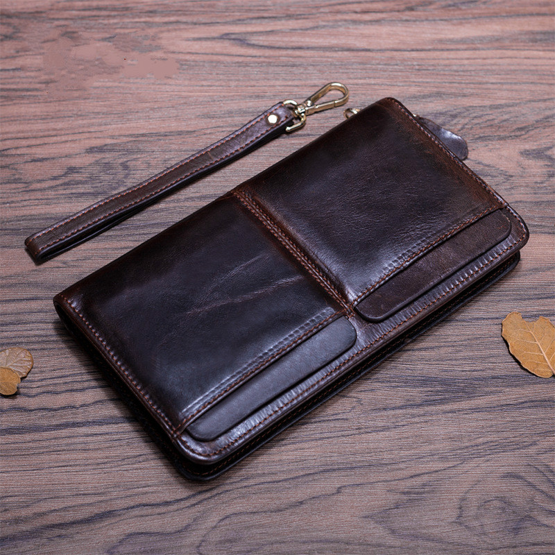 2016 Cowhide Genuine Leather Men Wallets Business New Man Zipper Purse Fashion Male Brown Long wristlet Wallet Man's Clutch Bag vintage genuine leather wallets men fashion cowhide wallet 2017 high quality coin purse long zipper clutch large capacity bag