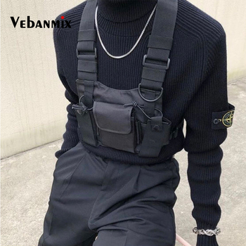 Fashion Nylon Chest Rig Bag Black Vest Hip Hop Streetwear Functional Tactical Harness Chest Rig Kanye West Wist Pack Chest Bag Сумка