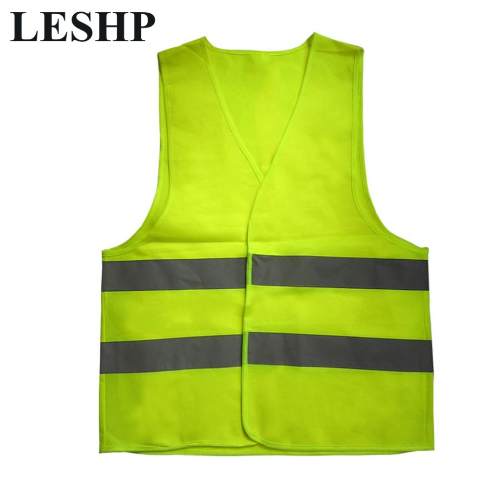 LESHP High Visibility Traffic Fluorescent Reflective Work Vest Warp Mesh fabric Warning Anti-Shrink Reflective Safety Vests new style breathable mesh high visibility reflective traffic safety cycling vest printable words logo