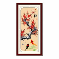 SewCrane Stamped Cross Stitch Kit, Red Plum Tree and Koi Fish, 18.1 x 41.3 inches