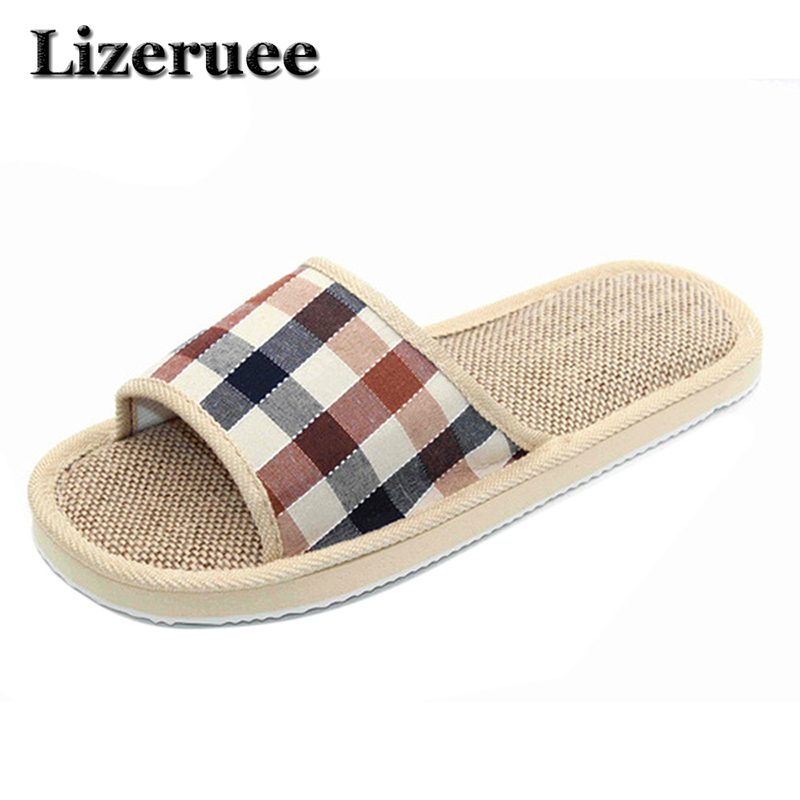 купить 2018 Natural Flax Home Slippers Indoor Floor Shoes Silent Sweat Slippers For Summer Women Sandals Slippers HS104 по цене 274.71 рублей