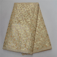 Best Quality Nigerian Lace Fabric Embroidered African Organza Lace Fabric With Sequins For Sewing Dresses Material PSA170 3
