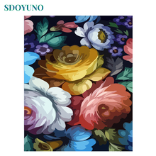 SDOYUNO 40x50cm Frameless Oil Painting By Numbers Flowers acrylic paint by numbers on canvas DIY Wall Art For Home Decor