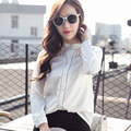 New 2016 Spring Autumn Fashion Women Blouse Long-sleeve Cutout Lace shirt Stand collar Thin White OL Women Lacing Tops