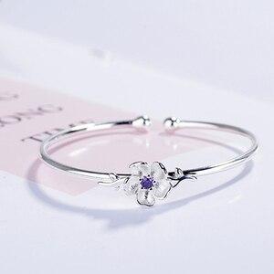 Женский браслет с цветком вишни XIYANIKE, розовый, фиолетовый хрустальный цветок из стерлингового серебра 925 пробы, регулируемый браслет