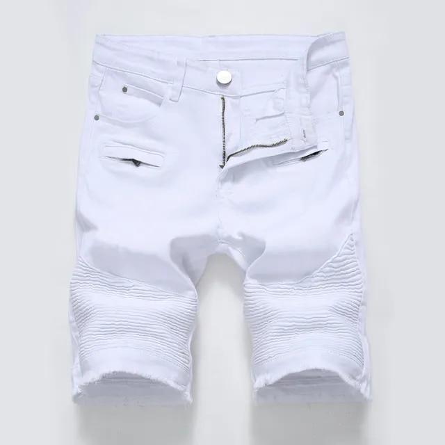 New Beand Summer Men Ripped Biker Jeans Shorts White Moto Denim Shorts For Male Multi Big Pockets Brand Designer Plus Size 28-40