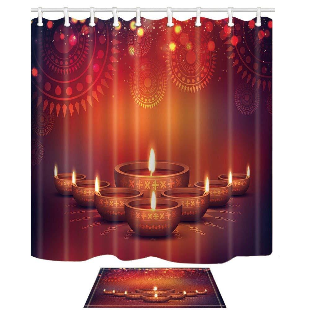 Leuk Gelukkig Diwali Decor Elegante Olie Lit Lampen Met Bloemen Bloem Schimmelbestendig Douchegordijn Pak Met Vloer Deurmat Bad Tapijten