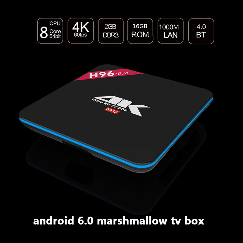 Prix pour 2016 H96 Pro Android TV BOX Android 6.0 Amlogic S912 Octa Core 2 GB/16 GB 2.4 GHZ/5.8 GHZ WIFI HD 4 K DLNA Airplay HD Smart TV BOÎTE