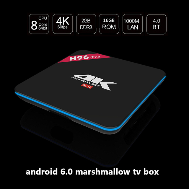 2016 H96 Pro Octa Android TV BOX Android 6.0 Amlogic S912 Core 2 GB/16 GB 2.4 GHZ/5.8 GHZ WIFI HD 4 K DLNA Airplay HD Smart TV CAJA