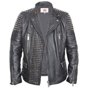 Image 4 - Мужская кожаная куртка с заклепками MAPLESTEED, черная Толстая байкерская куртка из воловьей кожи в стиле панк, мотоциклетная одежда для зимы, м139, 2019