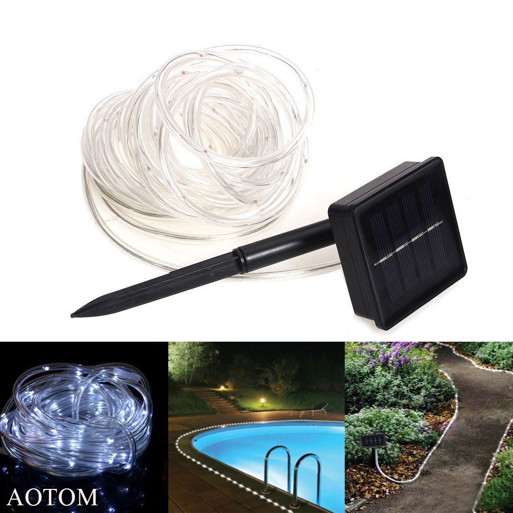 100 LEDs Solar Powered Waterproof <font><b>Tube</b></font> Flexible Light Fairy String Rope Strips for Christmas holidays outdoor