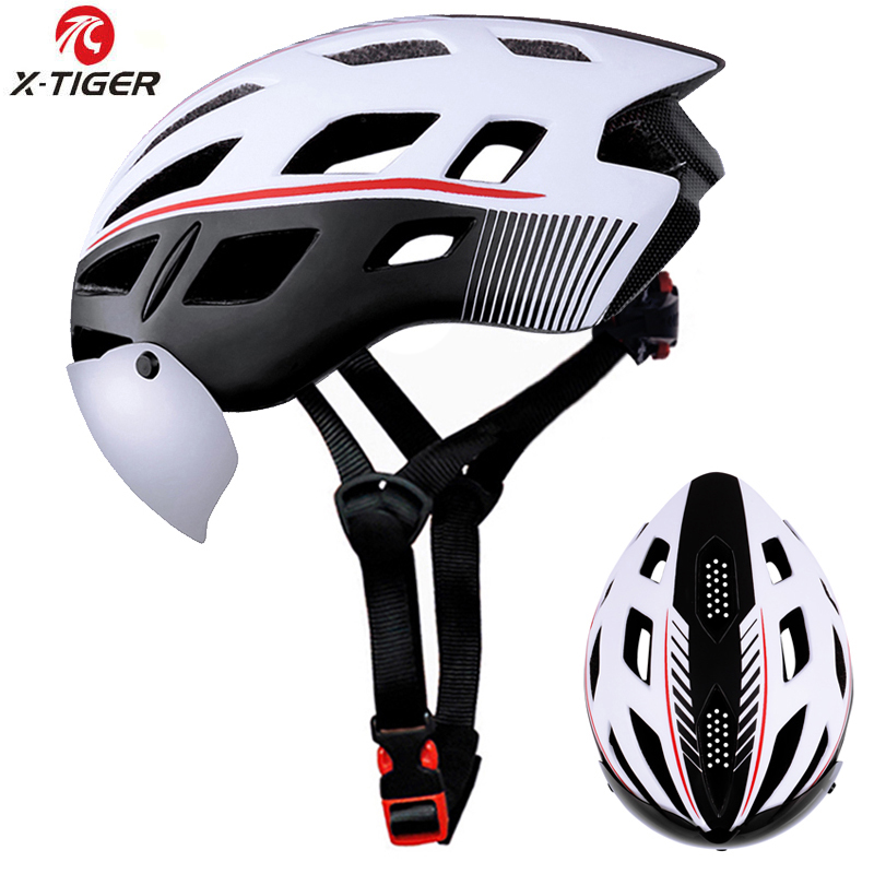 X-TIGER Windproof 2 Lenses Cycling Helmet EPS Insect Net Road MTB Bike Helmet Integrally-molded Cycling Bicycle Helmet