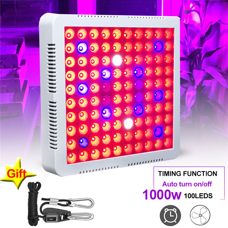 Grow Tent LED Grow Light 1000W Lamp For Plants 100 Leds Full Spectrum Timer Phyto Lamp For Seedling Fitolampy Adjustable Rope