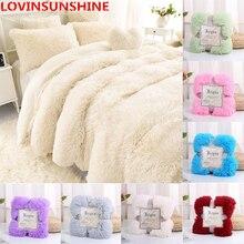 Süper yumuşak tüylü kürk battaniye Ultra peluş dekoratif battaniye 130*160cm/160*200cm kış battaniye yatak kanepe battaniyesi